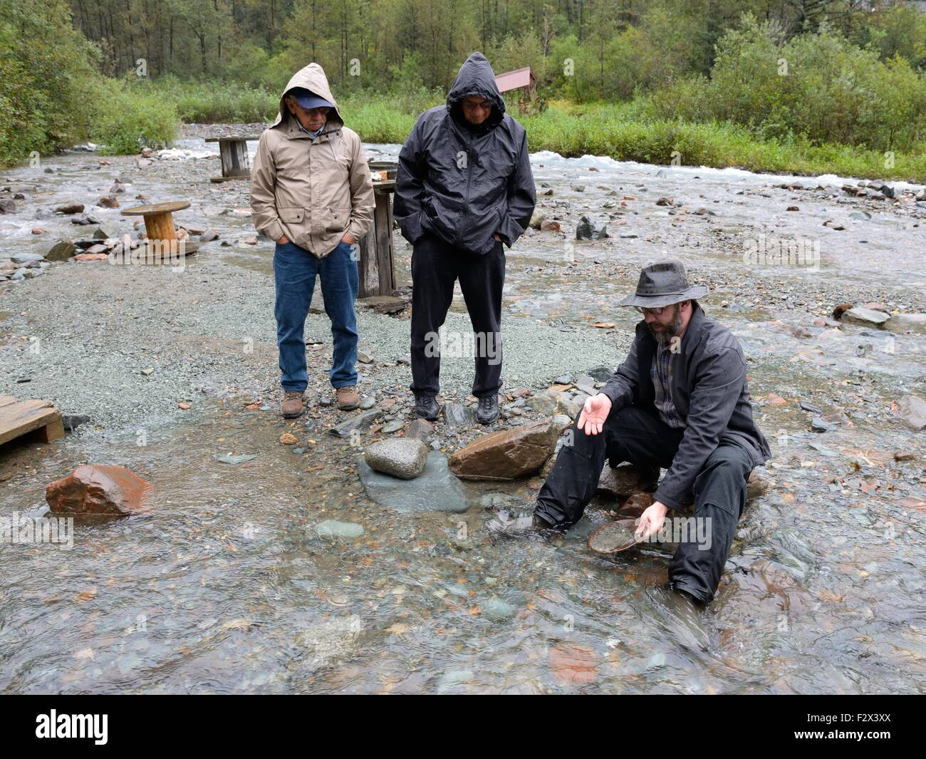 Guide showing tourists the techniques in panning for gold in a river near Juneau, Alaska, USA - Stock Image