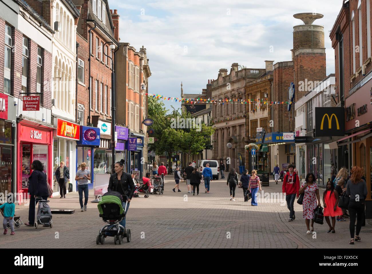 Pedestrianised High Street, Kettering, Northamptonshire, England, United Kingdom - Stock Image