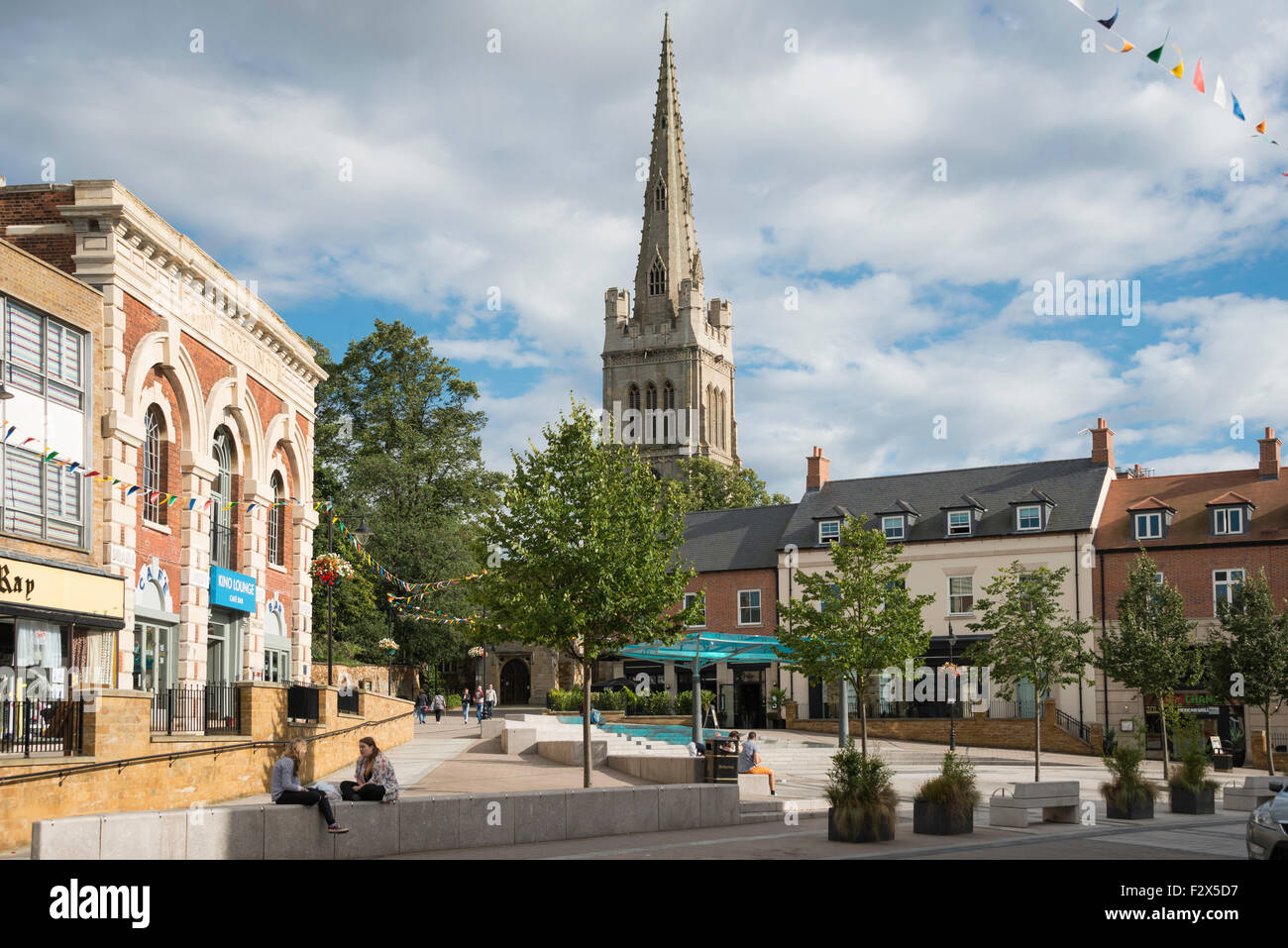 St Peter and Paul Church from Market Place, Kettering, Northamptonshire, England, United Kingdom - Stock Image