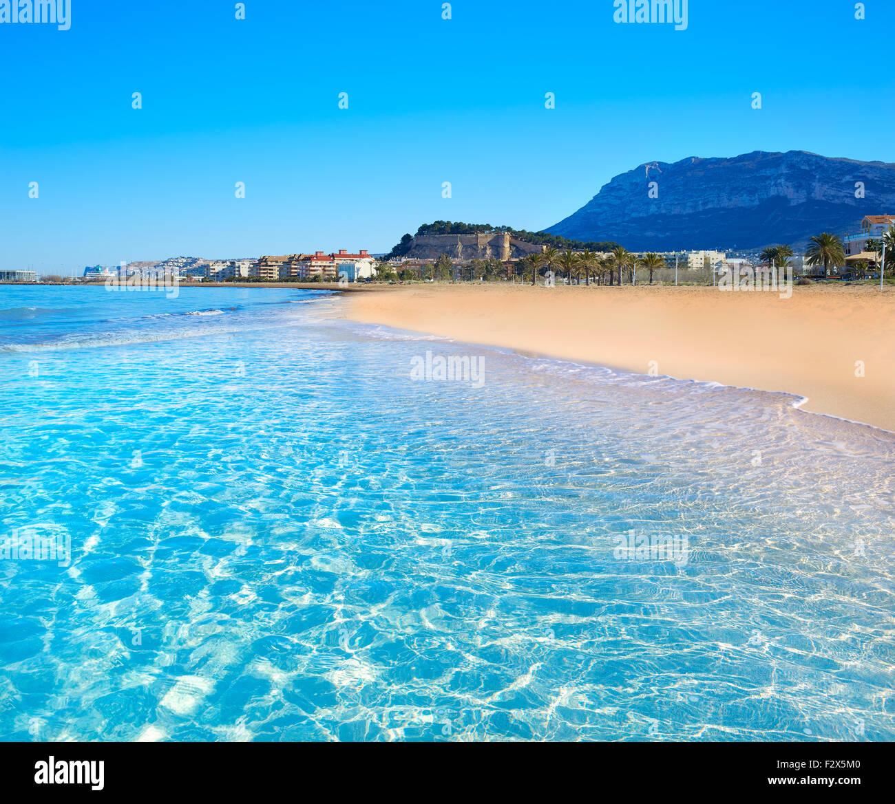 denia beach in alicante in blue mediterranean with montgo alicante