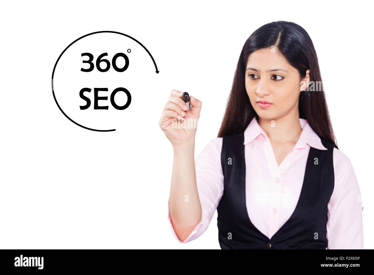 1 indian Business Woman Flow Chart Writing Digitally Enhanced - Stock Image