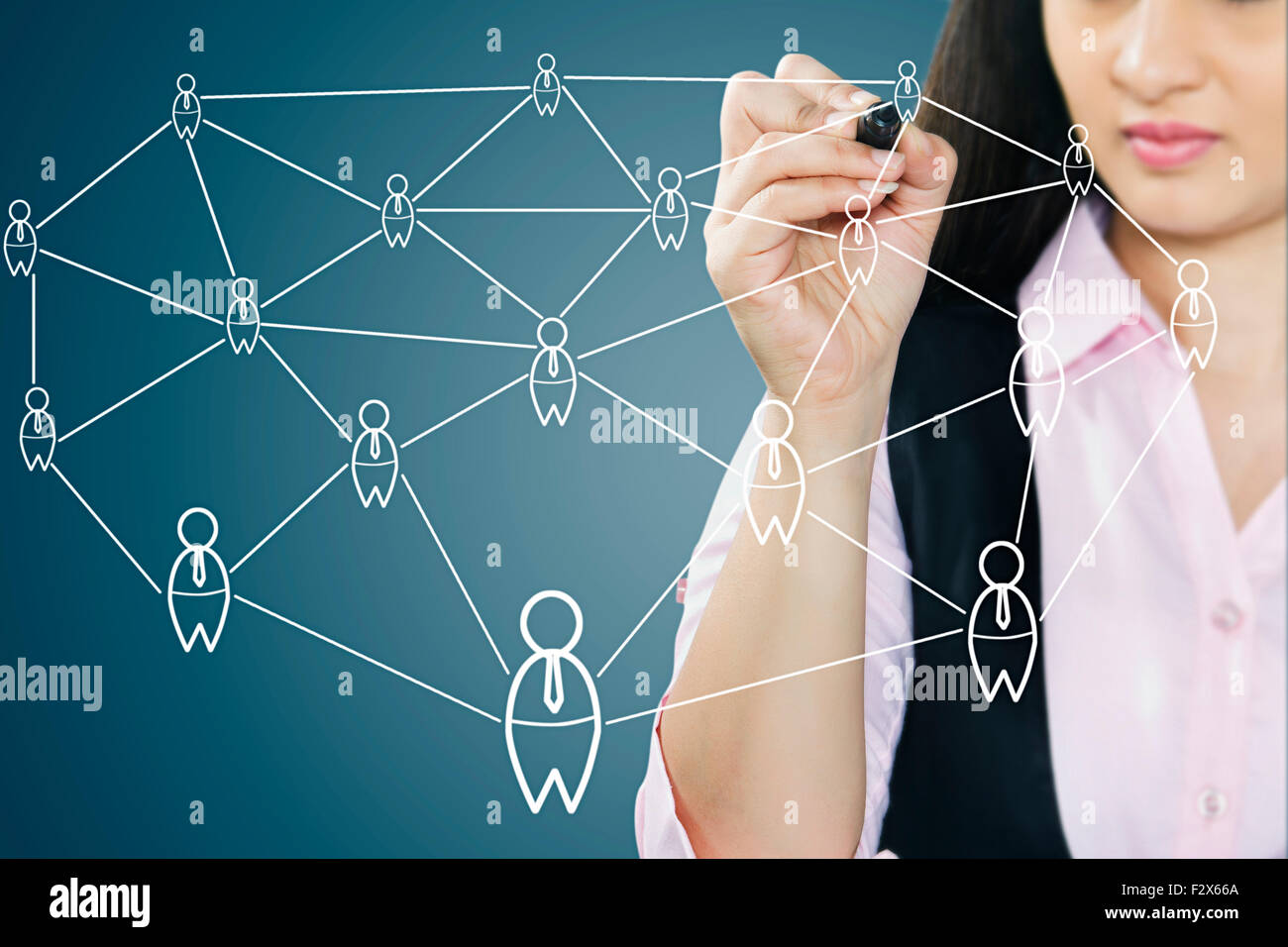 1 indian Business Woman Digitally Enhanced Networking - Stock Image