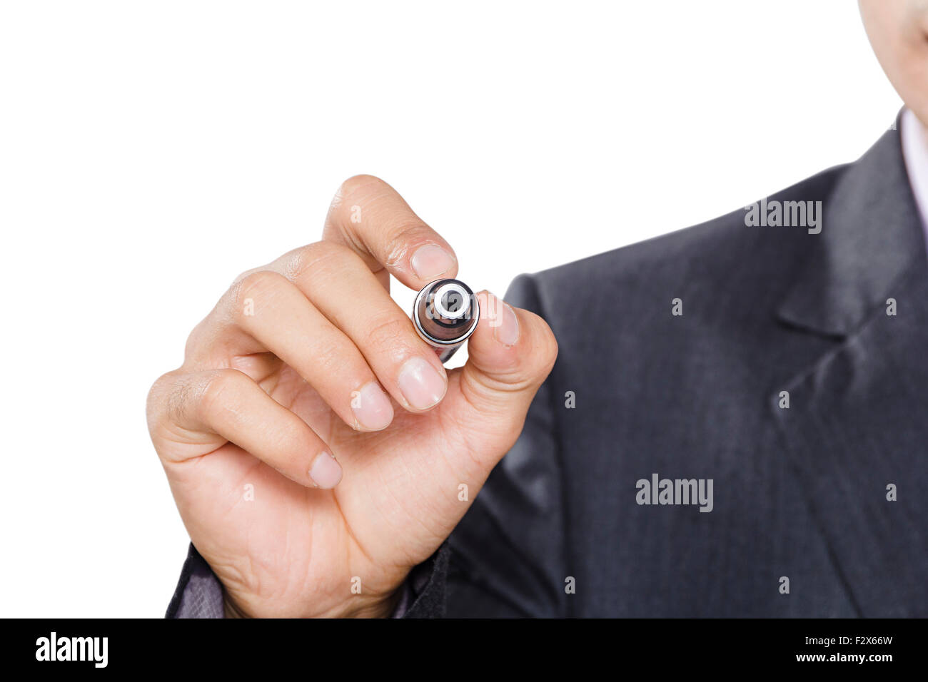 1 Business man  Writing Digitally Enhanced - Stock Image