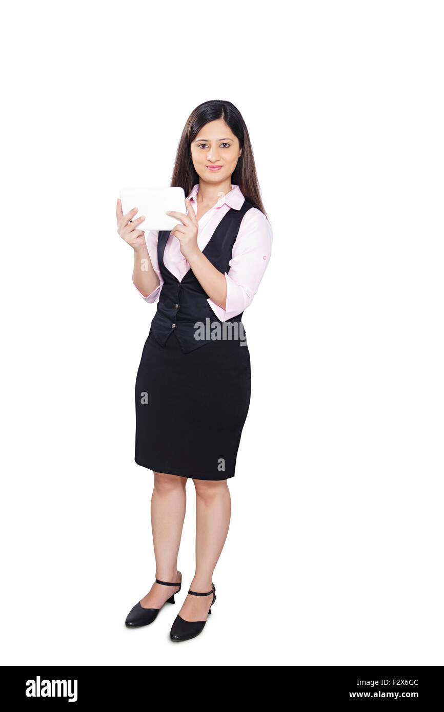 1 indian Business Woman Dialing Digital Tablet - Stock Image