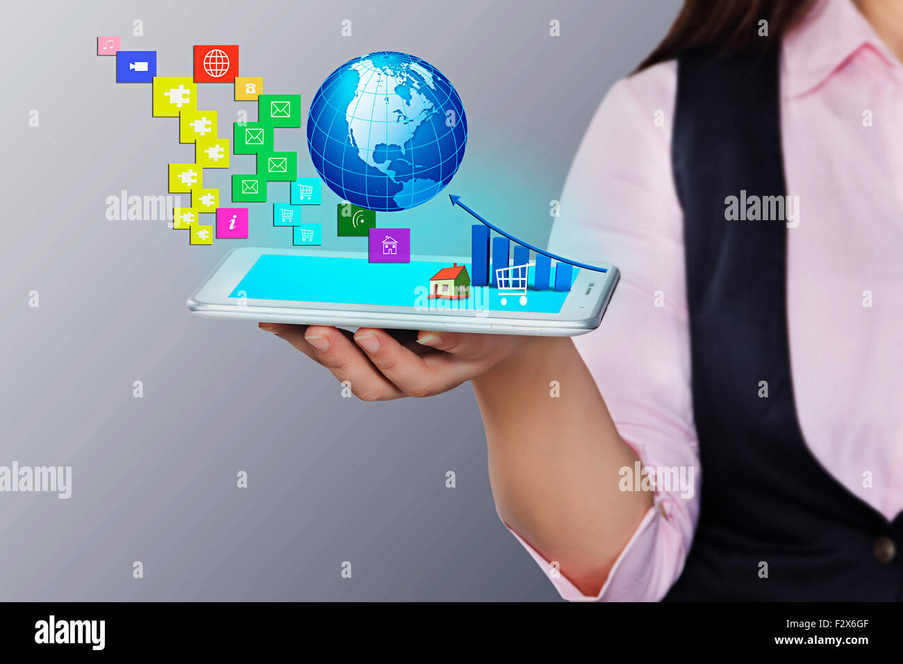 1 Business woman Digital Tablet Technology Digitally Enhanced - Stock Image