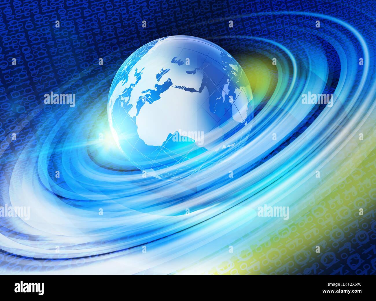 Graphical digital world background - Stock Image