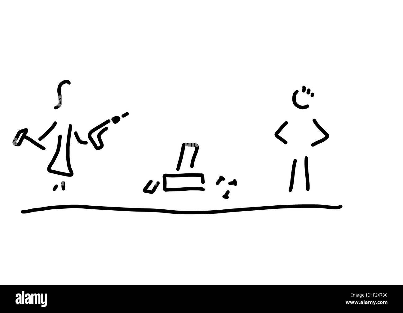 Line drawing of woman working with tools, black and white - Stock Image