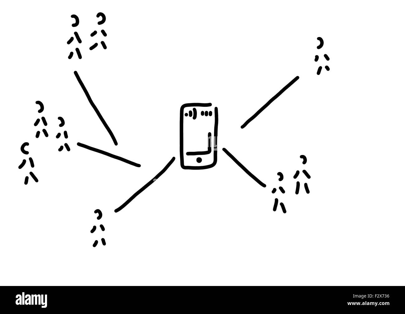 Social network with smartphone, line drawing, black and white - Stock Image