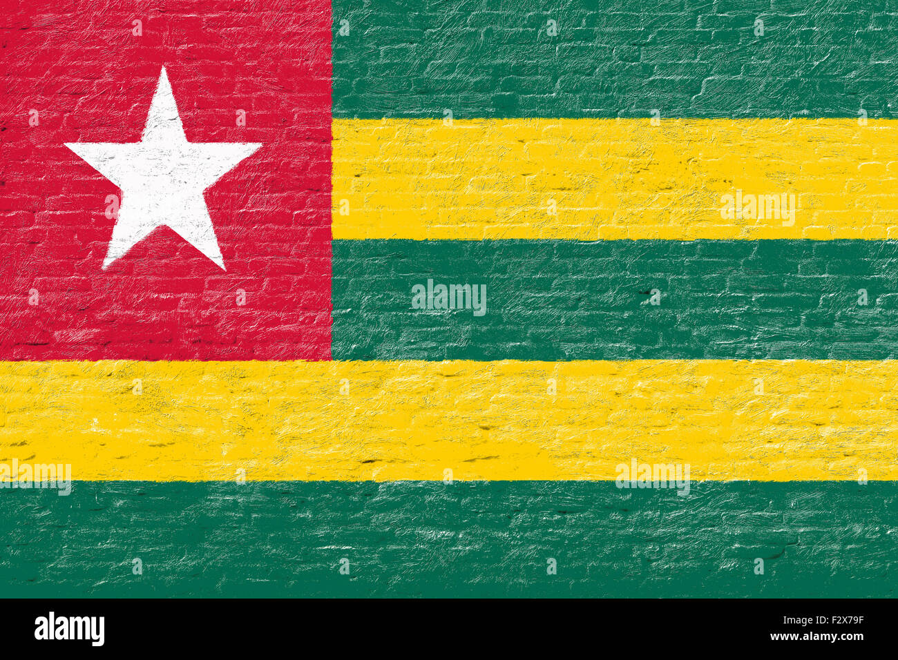 Togo - National flag on Brick wall - Stock Image
