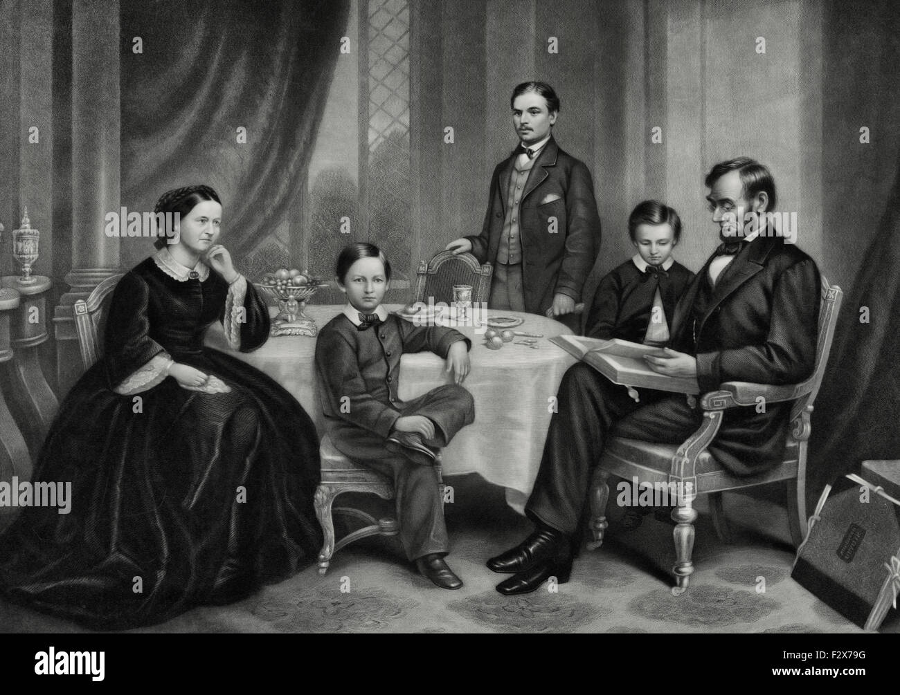 Abraham Lincoln and his family in 1861 - Stock Image