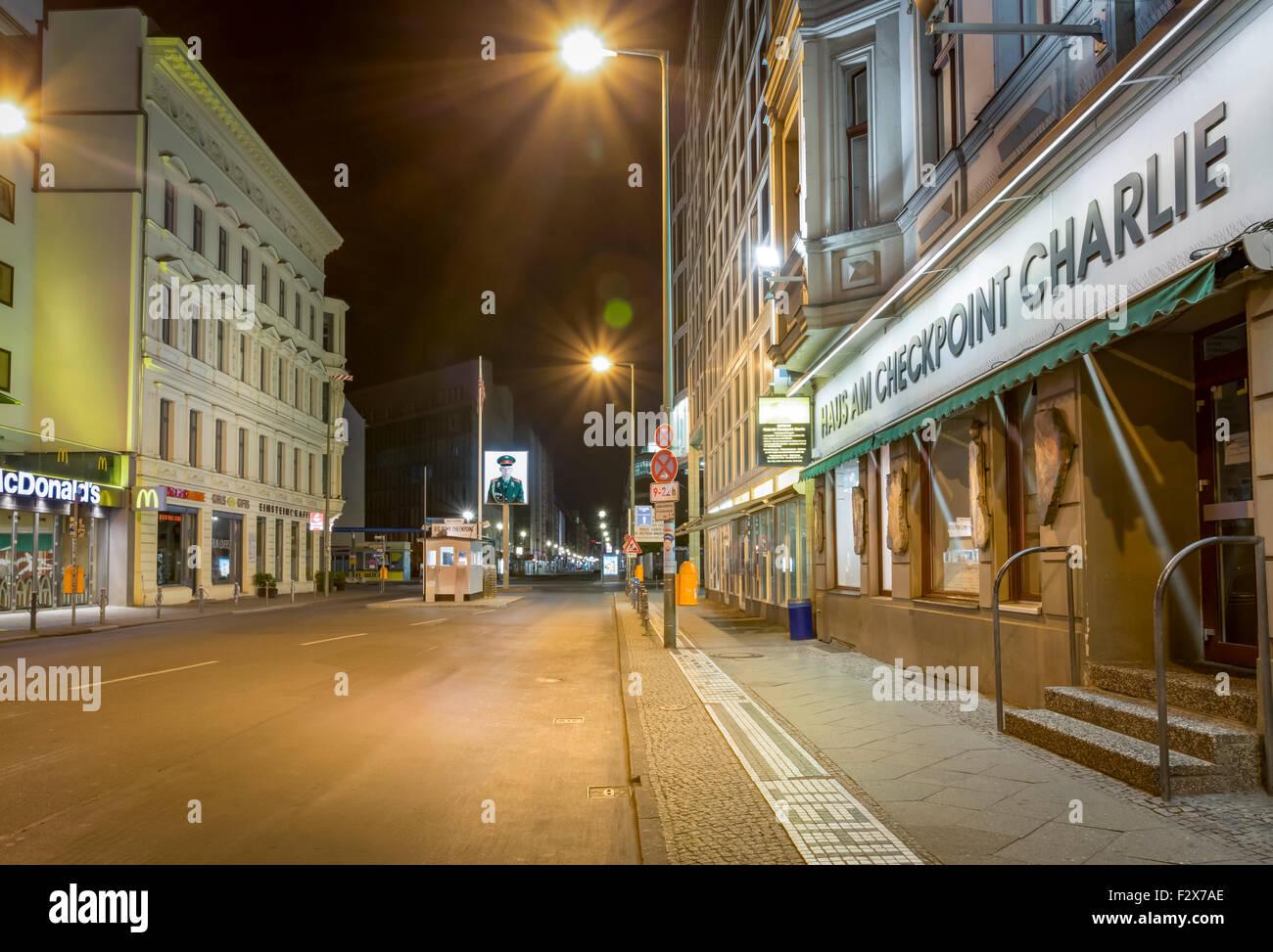 Germany Berlin Friedrichstrasse Building Night Stock