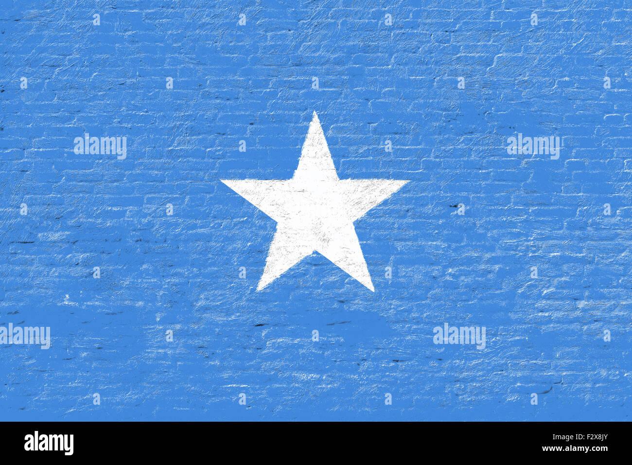 Somalia - National flag on Brick wall Stock Photo