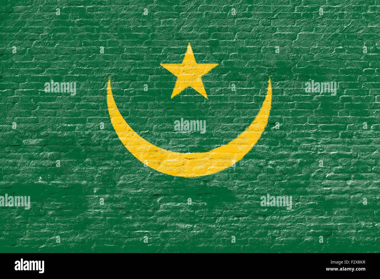 Mauritania - National flag on Brick wall - Stock Image