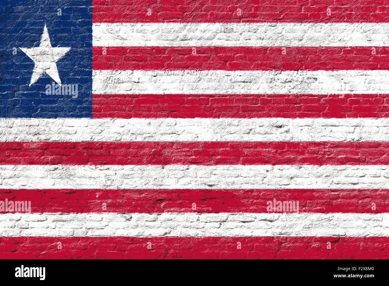 Liberia - National flag on Brick wall Stock Photo