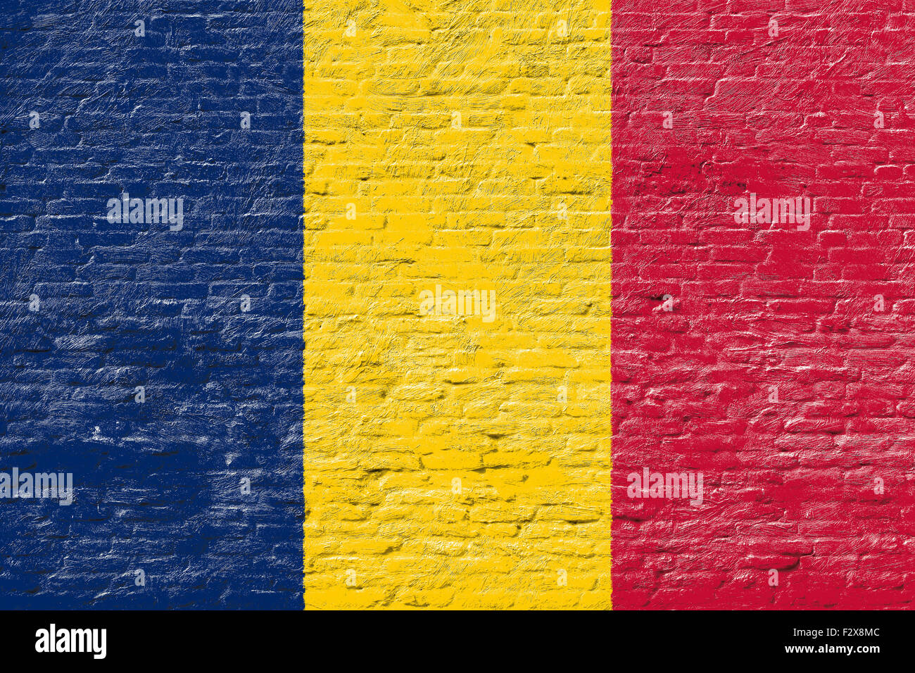 Chad - National flag on Brick wall - Stock Image