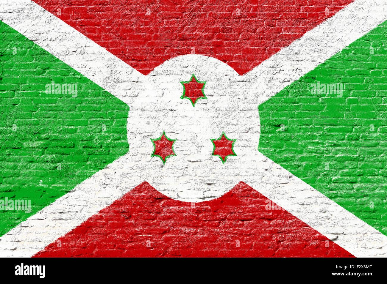 Burundi - National flag on Brick wall - Stock Image