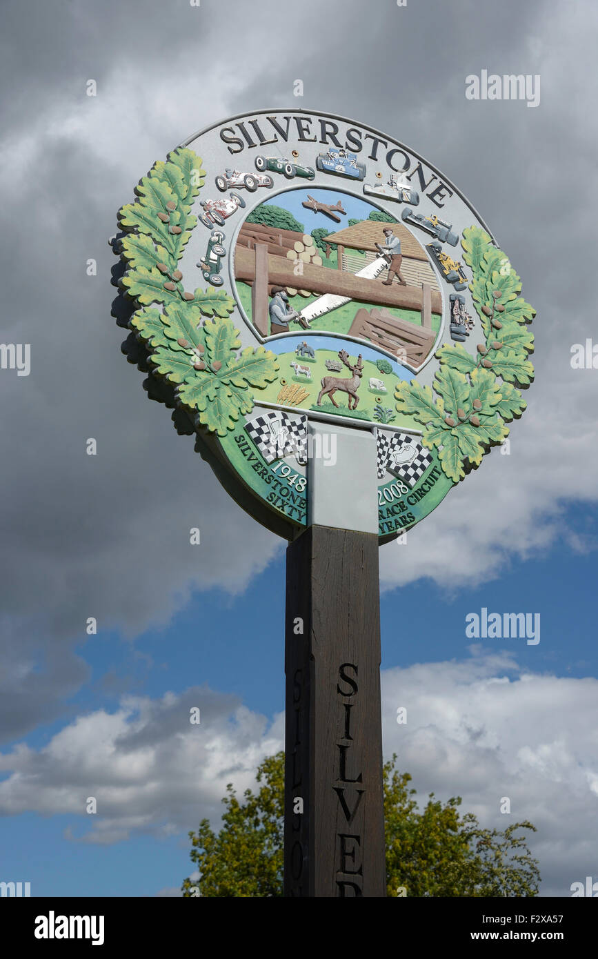 Village sign, High Street, Silverstone, Northamptonshire, England, United Kingdom - Stock Image