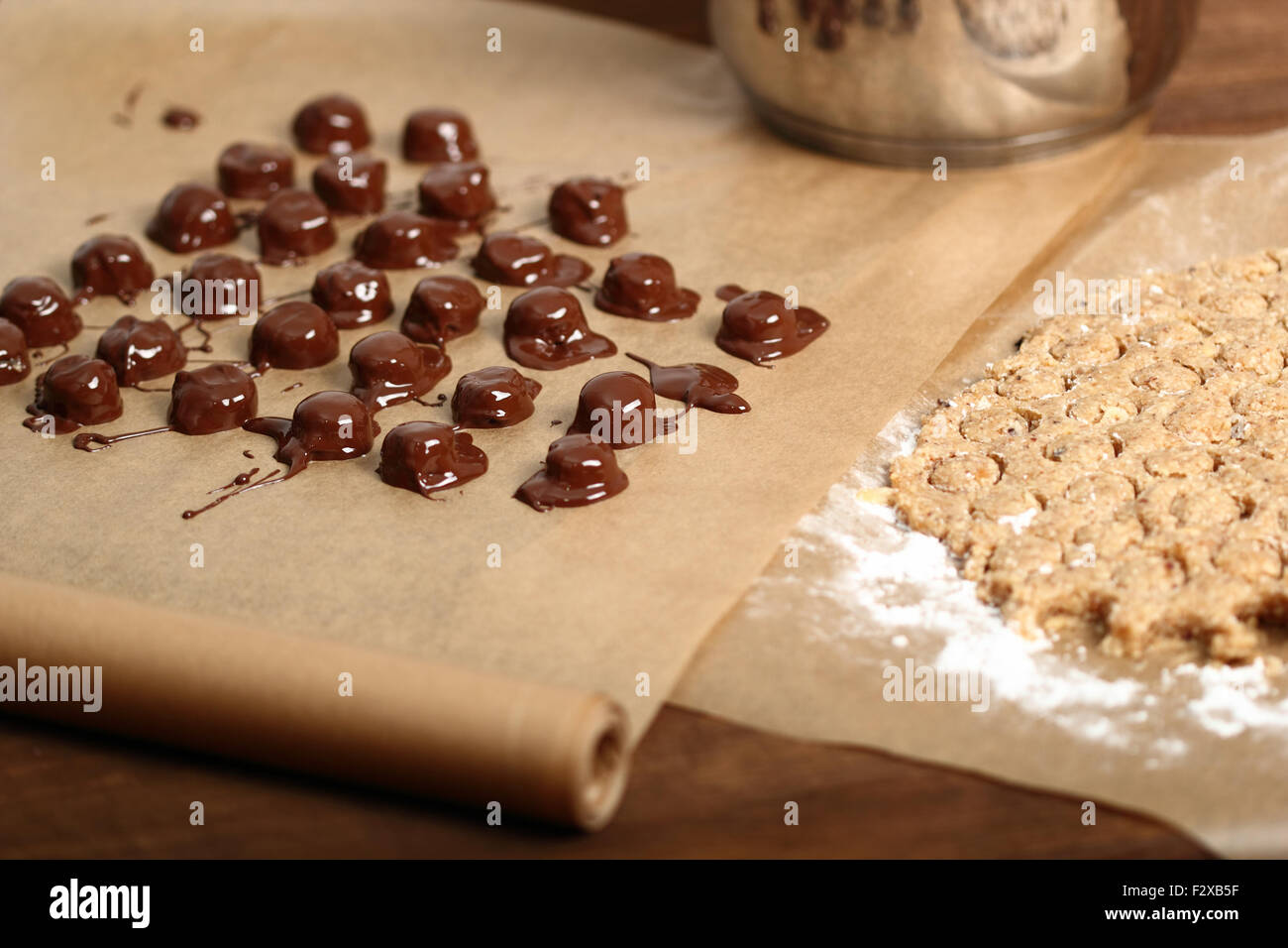 Making Praline (Chocolate Candy with Nut Filling Stock Photo