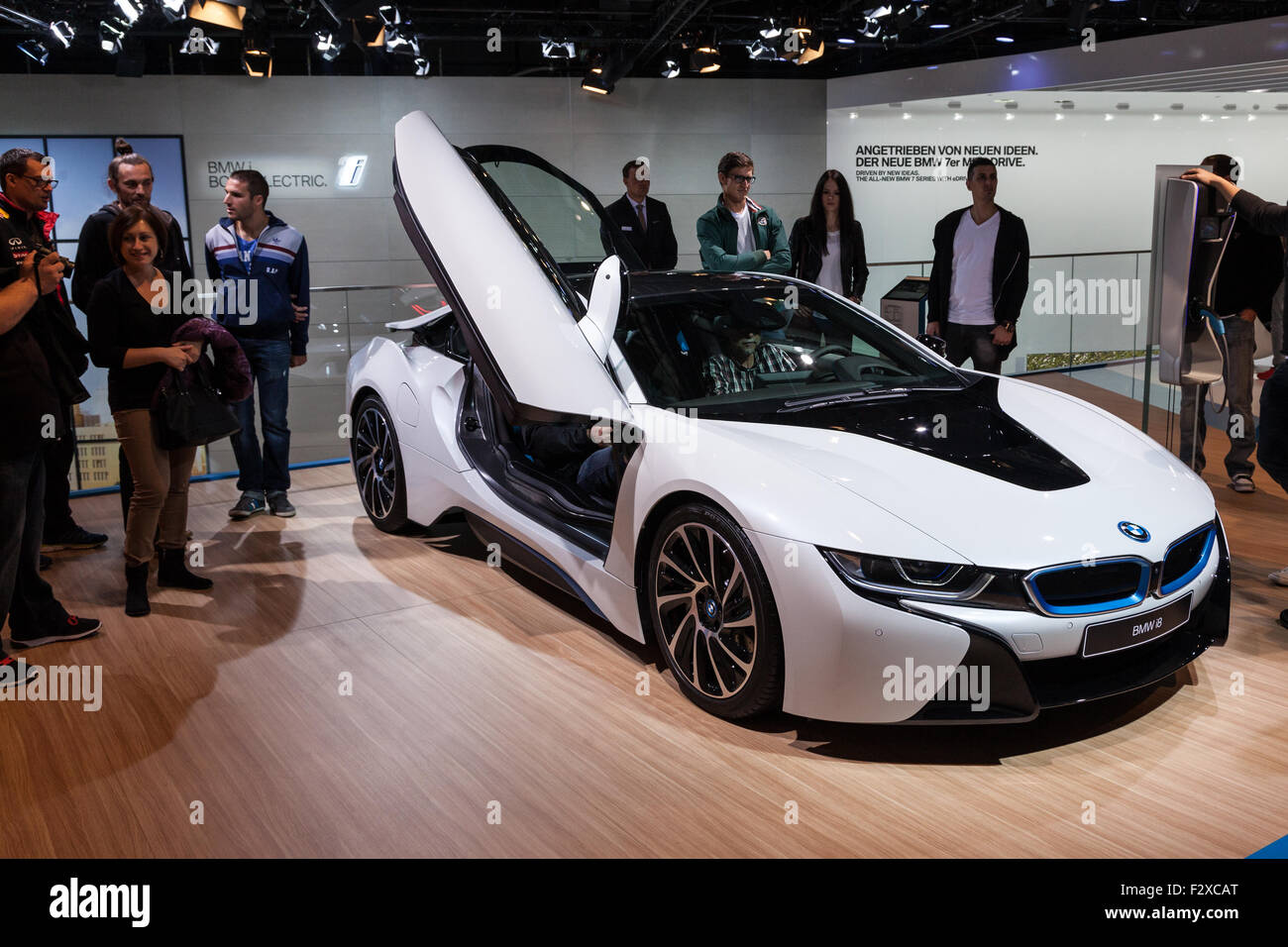 Bmw I8 Electric Sports Car At The Iaa International Motor Show 2015
