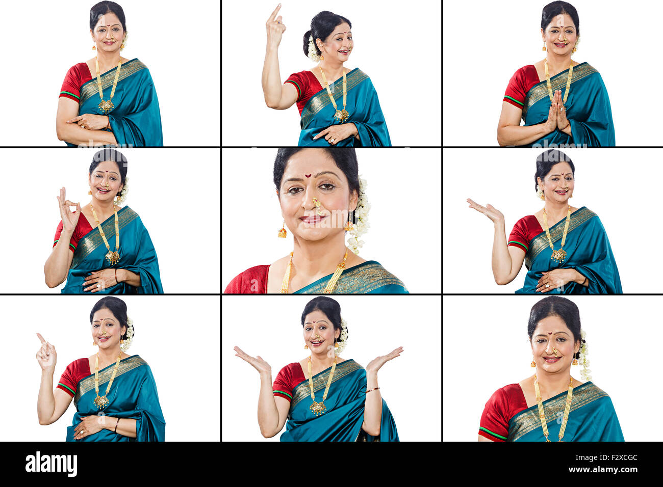 1 indian Marathi adult woman Comparison Multi Tasking Stock Photo