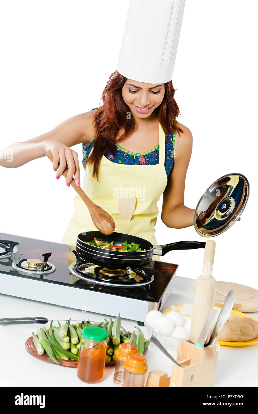 1 Indian Adult Woman Housewife Kitchen Cooking Stock Photo