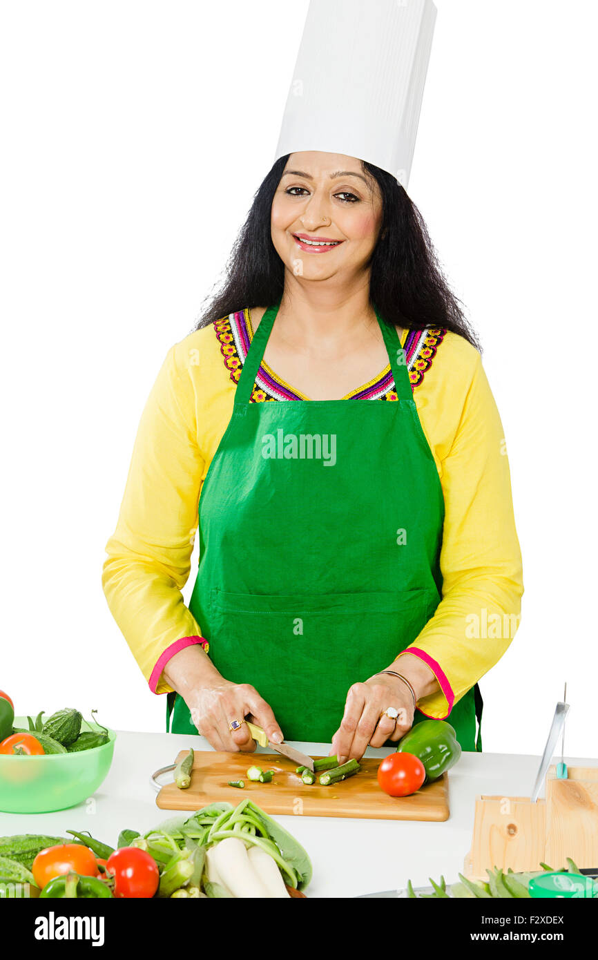 1 indian Adult Woman Housewife Kitchen Cooking Stock Photo ...