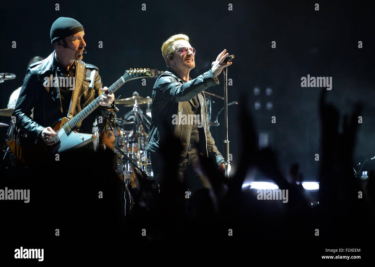Berlin, Germany. 24th Sep, 2015. Bassist Adam Clayton (l) and singer Bono (Paul David Hewson) of Irish rock band - Stock Image