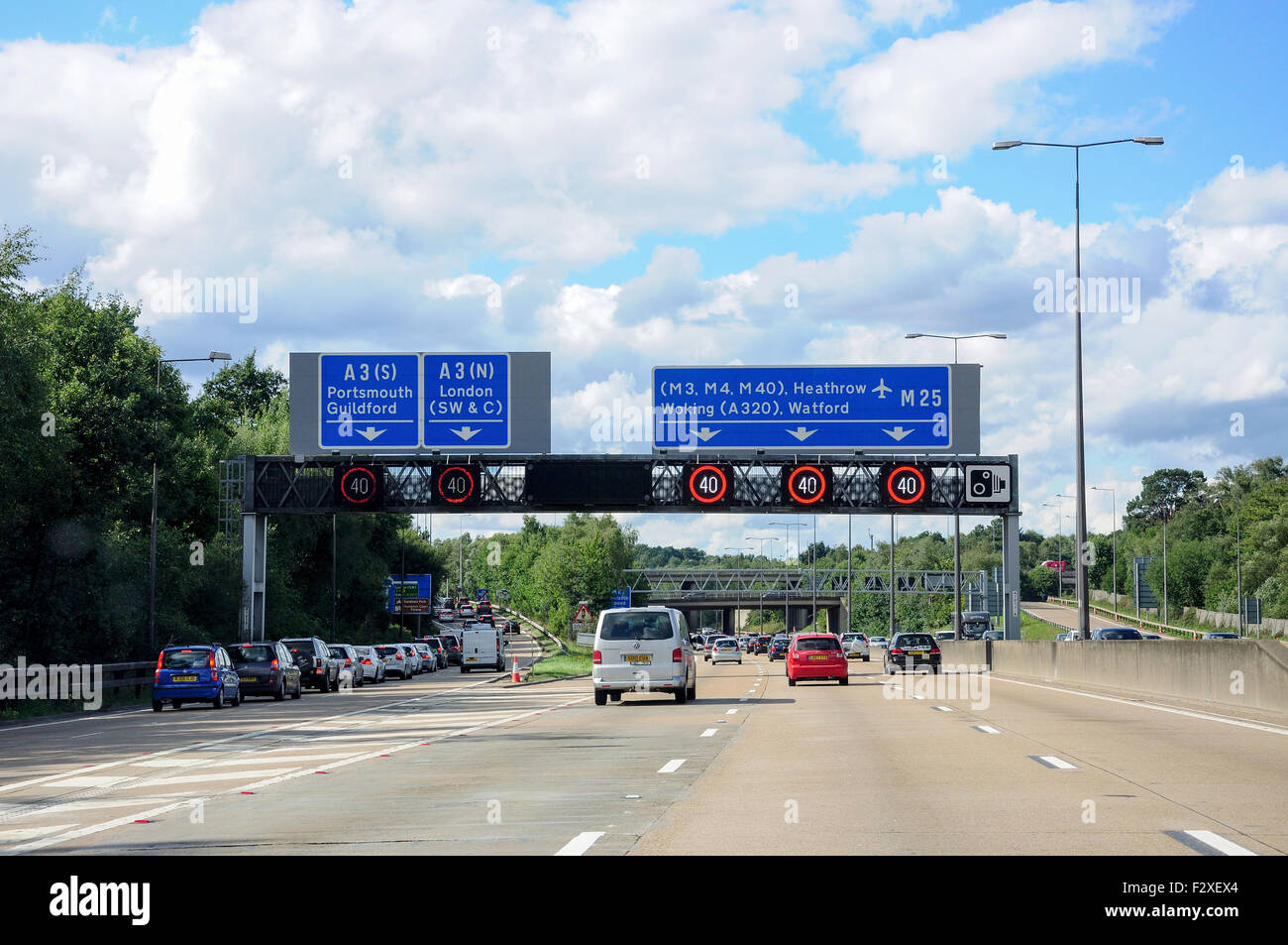 M25 at A3 Junction, Surrey, England, United Kingdom - Stock Image