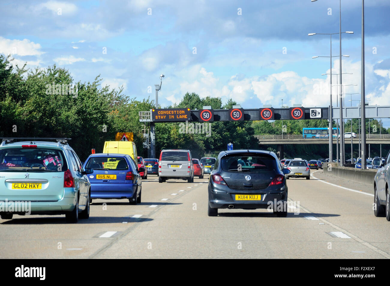 Congestion on M25 Motorway, Surrey, England, United Kingdom - Stock Image