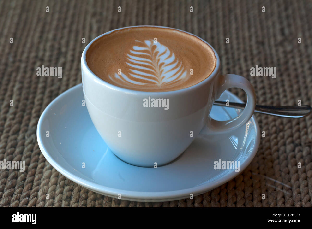 Cappuccino with milk froth, latte art, Rosetta, Germany - Stock Image