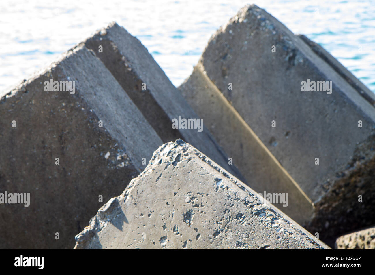 detail of breakwaters, geometric patterns, black and white - Stock Image