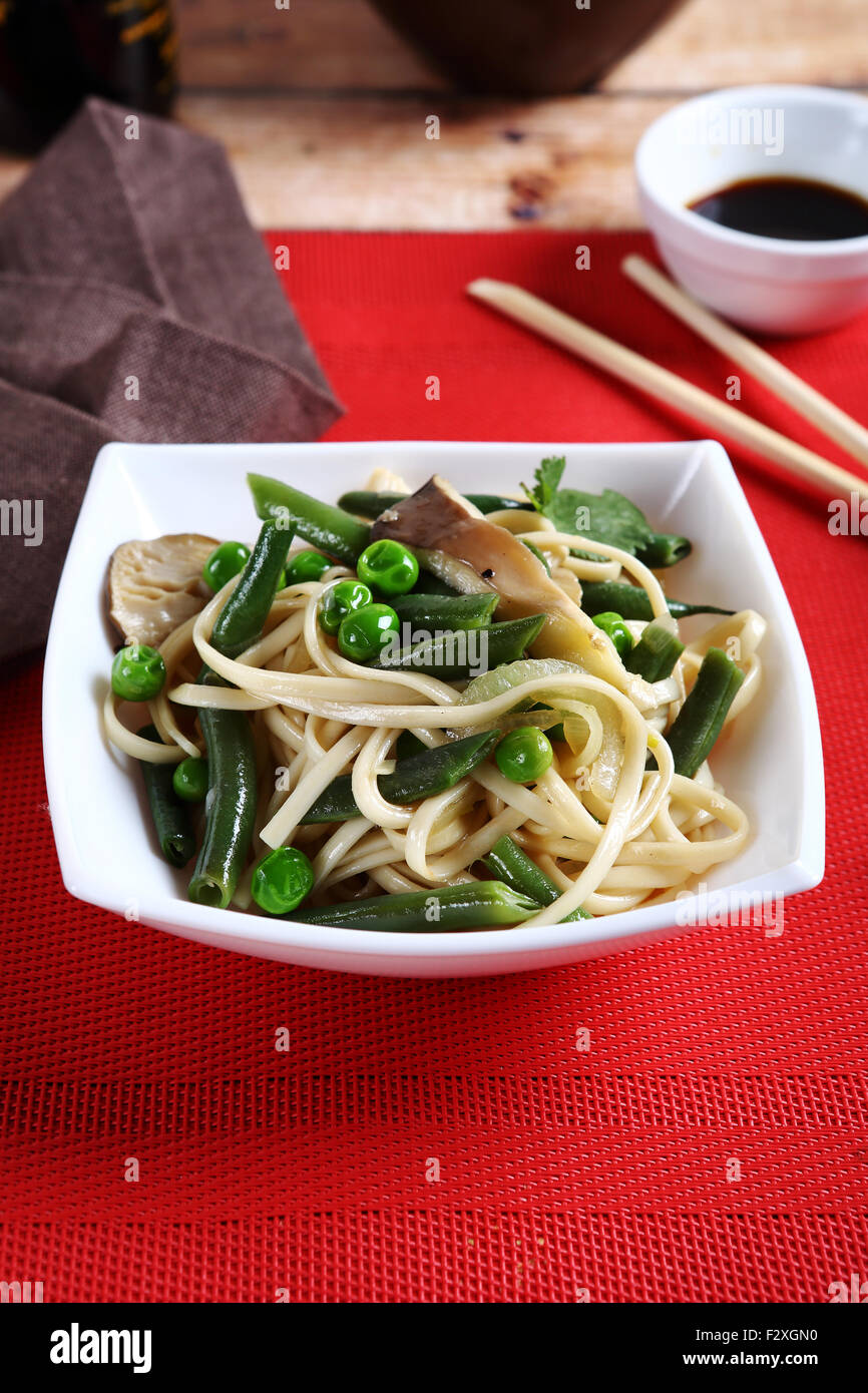 Noodles with beans, tasty food Stock Photo