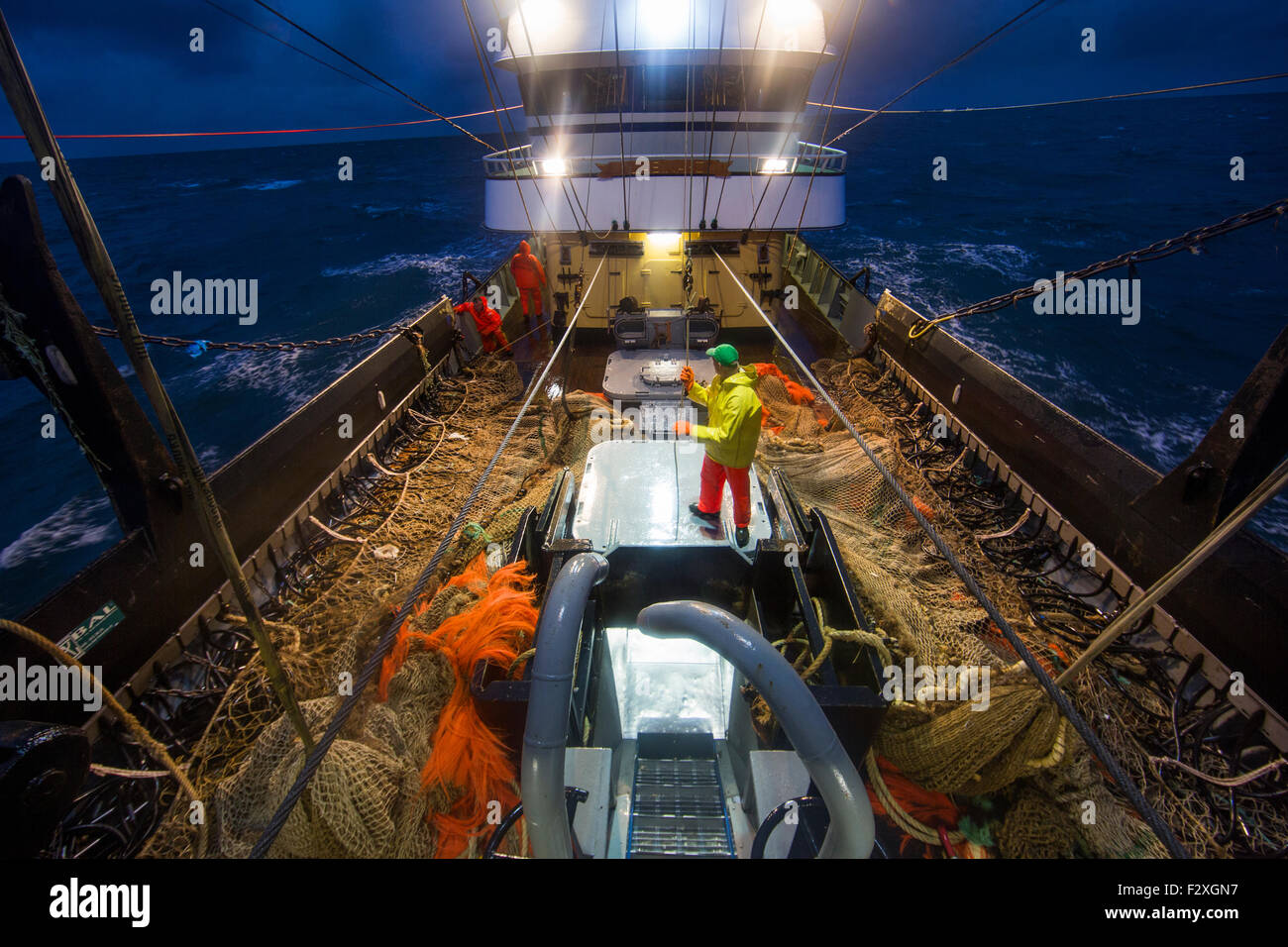 Dutch fishing vessel fishing on the North sea for sole and flounder - Stock Image