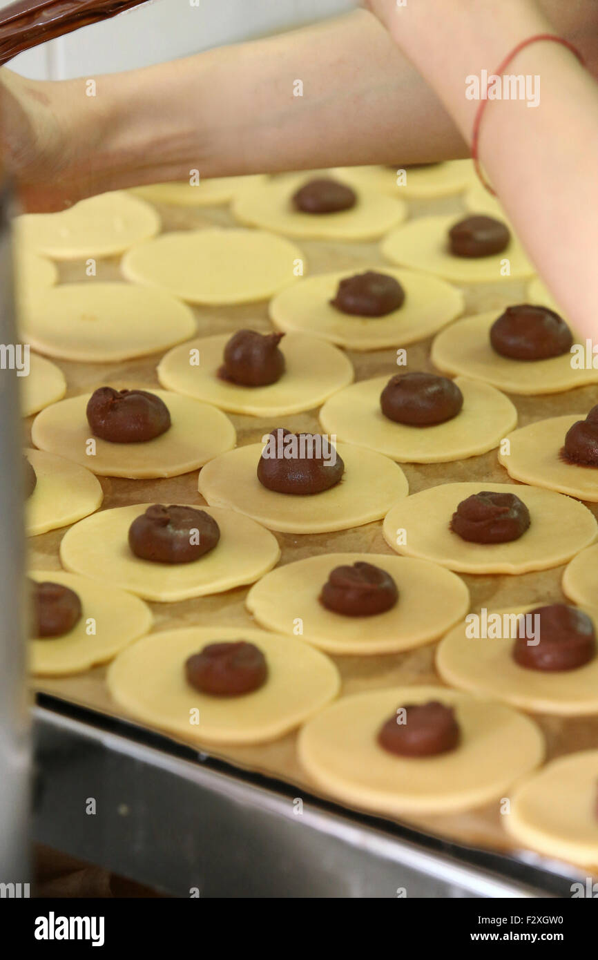 Poppy Seed filled Hamantashen a pastry in Ashkenazi Jewish cuisine It is traditionally eaten during the Jewish holiday - Stock Image