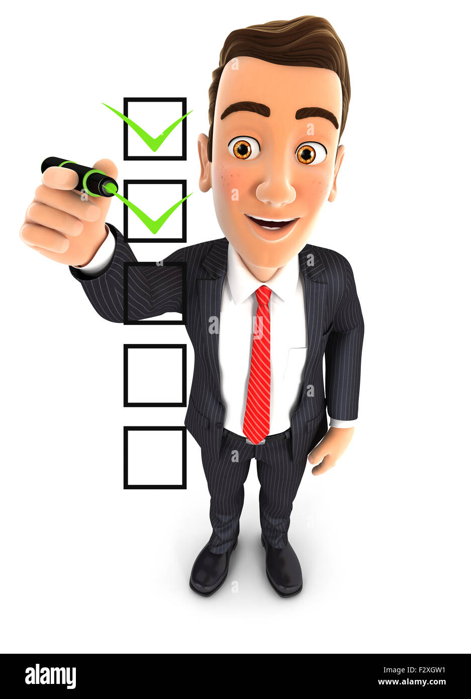 3d businessman checklist, isolated white background Stock Photo