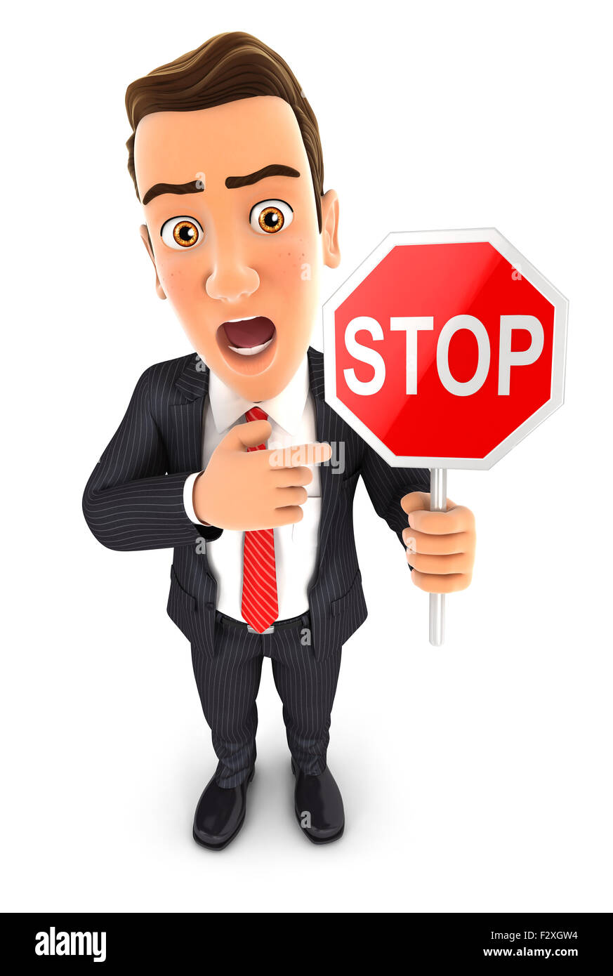 3d businessman stop sign, isolated white background Stock Photo