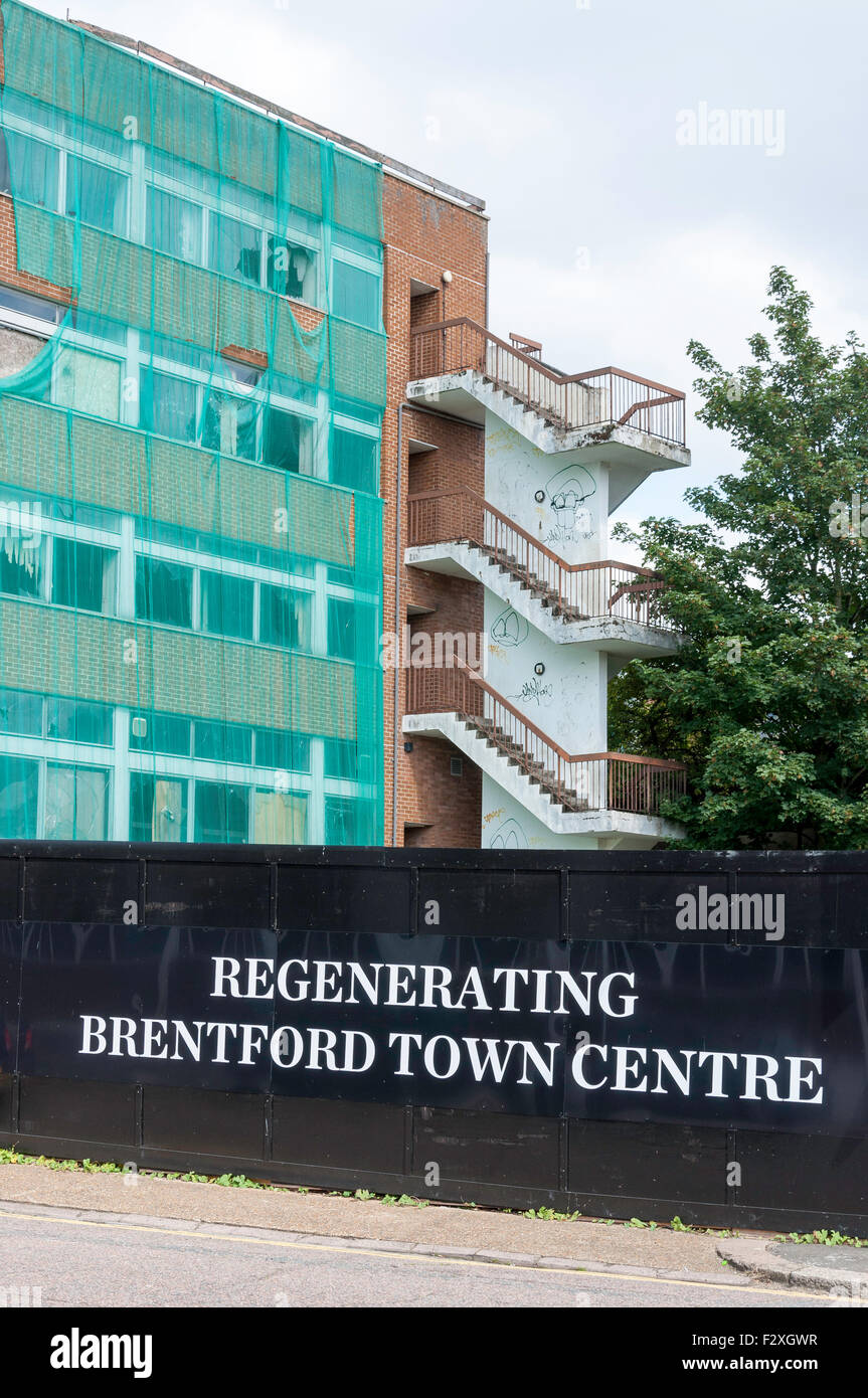 Regenerating Brentford Town sign at demolition site, High Street, Brentford, Greater London, England, United Kingdom - Stock Image