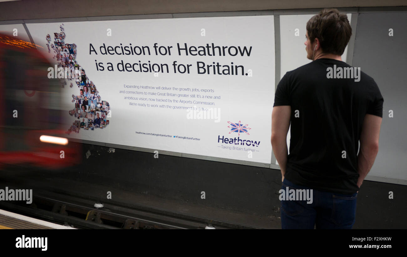 Heathrow expansion advertising hoarding poster on London underground Stock Photo