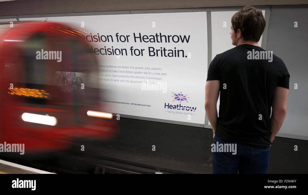 Heathrow expansion advertising hoarding poster on London underground - Stock Image