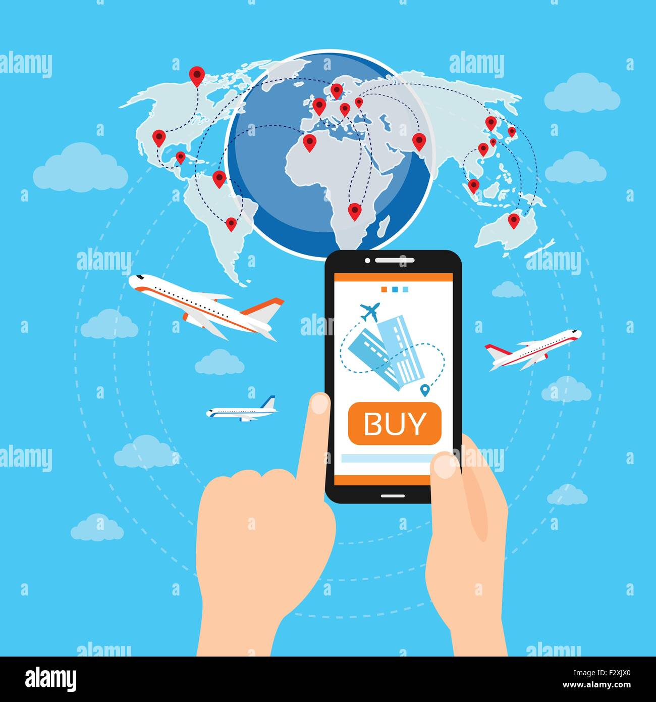 Buy ticket online smart phone application globe world map travel buy ticket online smart phone application globe world map travel vacation trip booking air plane flight gumiabroncs Images