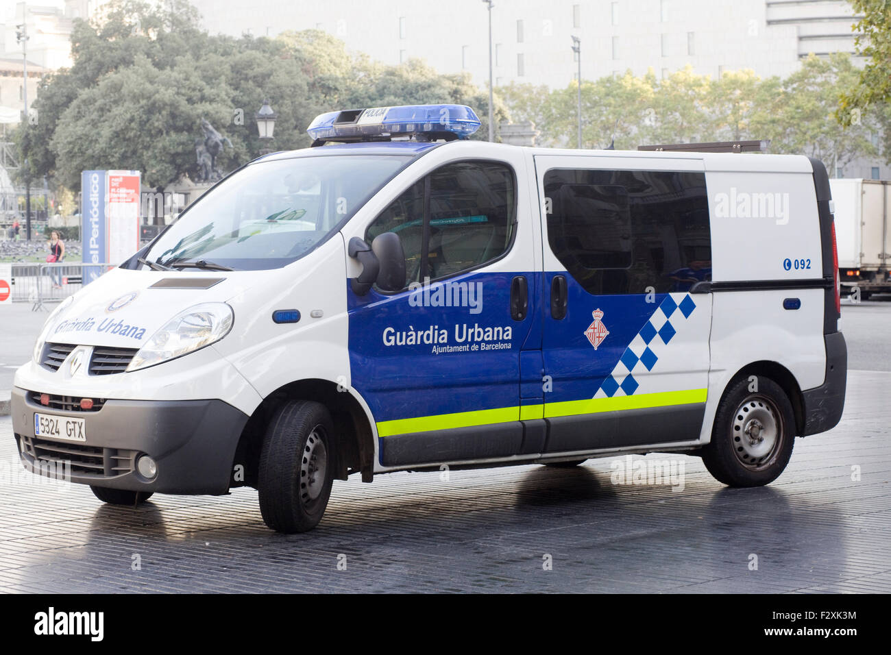 Guardia Urbana Police vehicle Parked on the street in Barcelona Spain - Stock Image