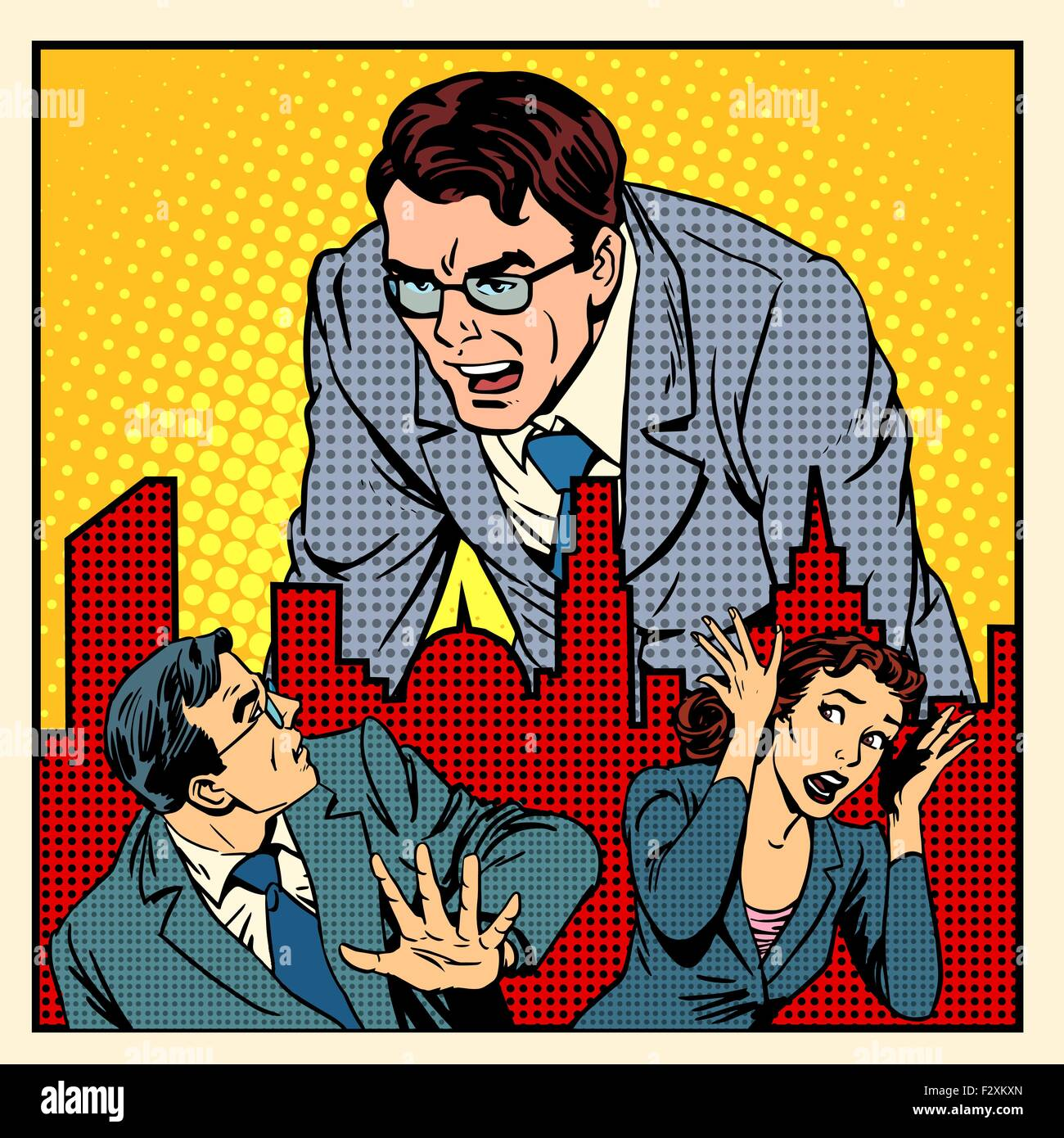 boss anger work office business concept - Stock Vector