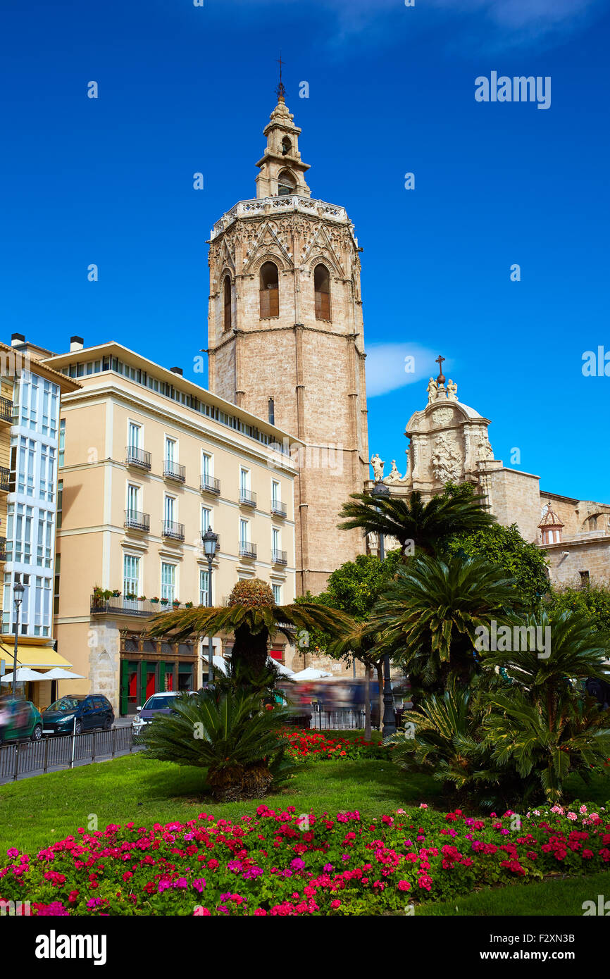 Valencia El Miguelete Micalet in Reina square and Cathedral church Stock Photo