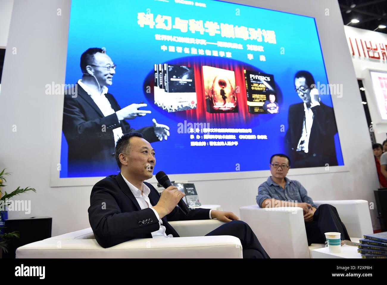 (150925) -- TAIYUAN, Sept. 25, 2015 (Xinhua) --  Theoretical physicist Li Miao (L) and sci-fi writer Liu Cixin have - Stock Image