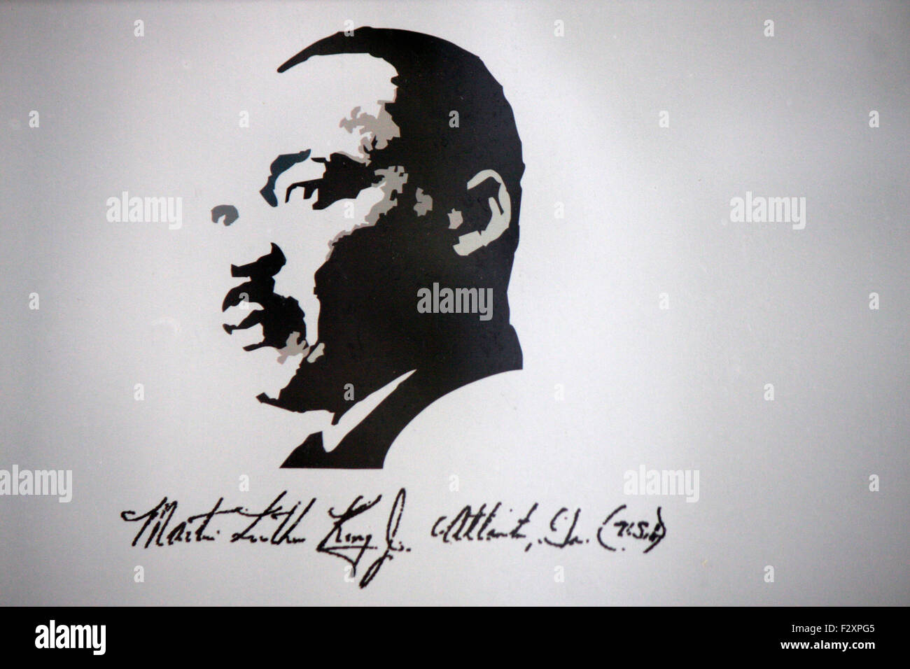 Martin Luther King Portrait an Sophienkirche, Berlin-Mitte. - Stock Image