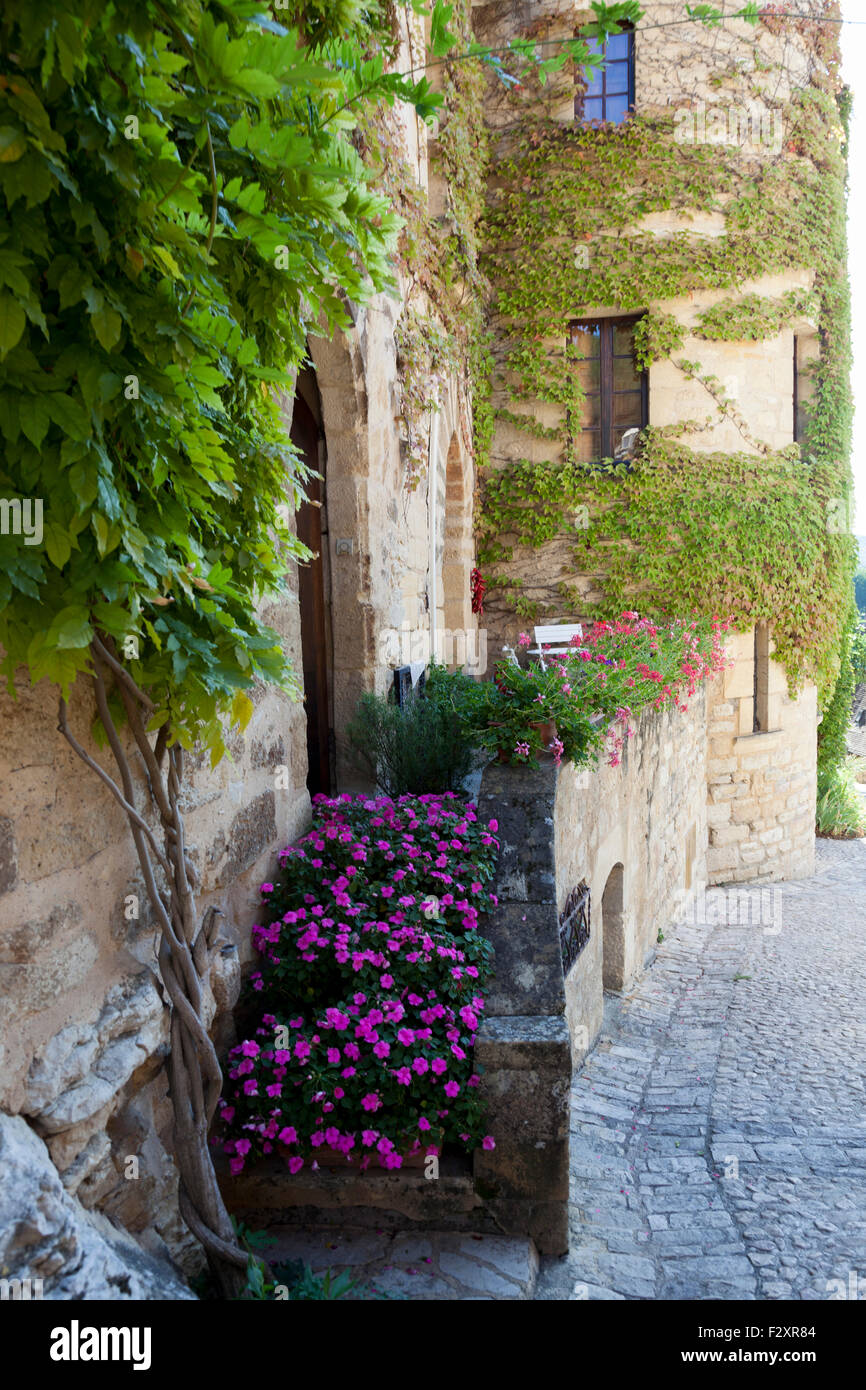 The frontage in bloom of a fortified house in the la Roque Gageac village (France). Façade fleurie d'une - Stock Image