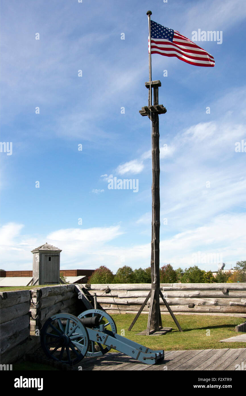 American Flag on a wooden flagpole flag pole at Fort Stanwix