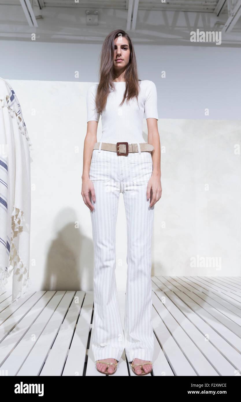 New York, NY - September 12, 2015: Model shows off dress for Frame ...