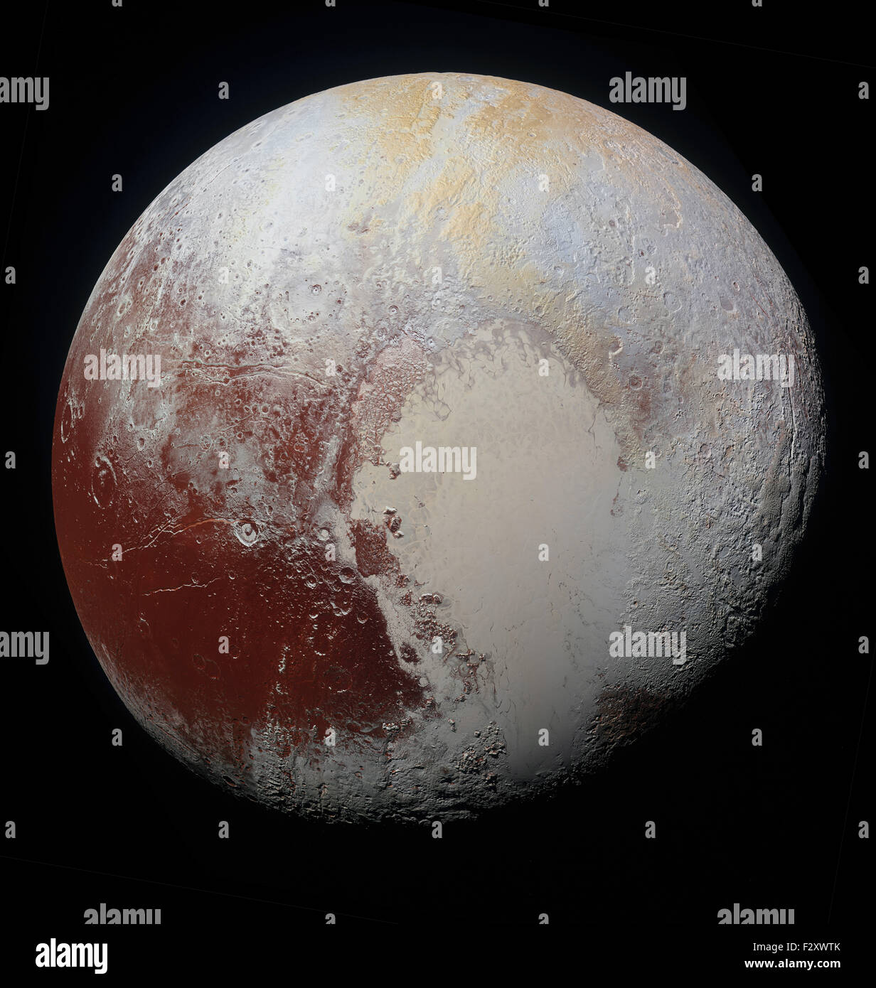 24th September, 2015. NASA's New Horizons spacecraft captured this super-high-resolution enhanced color imagery - Stock Image