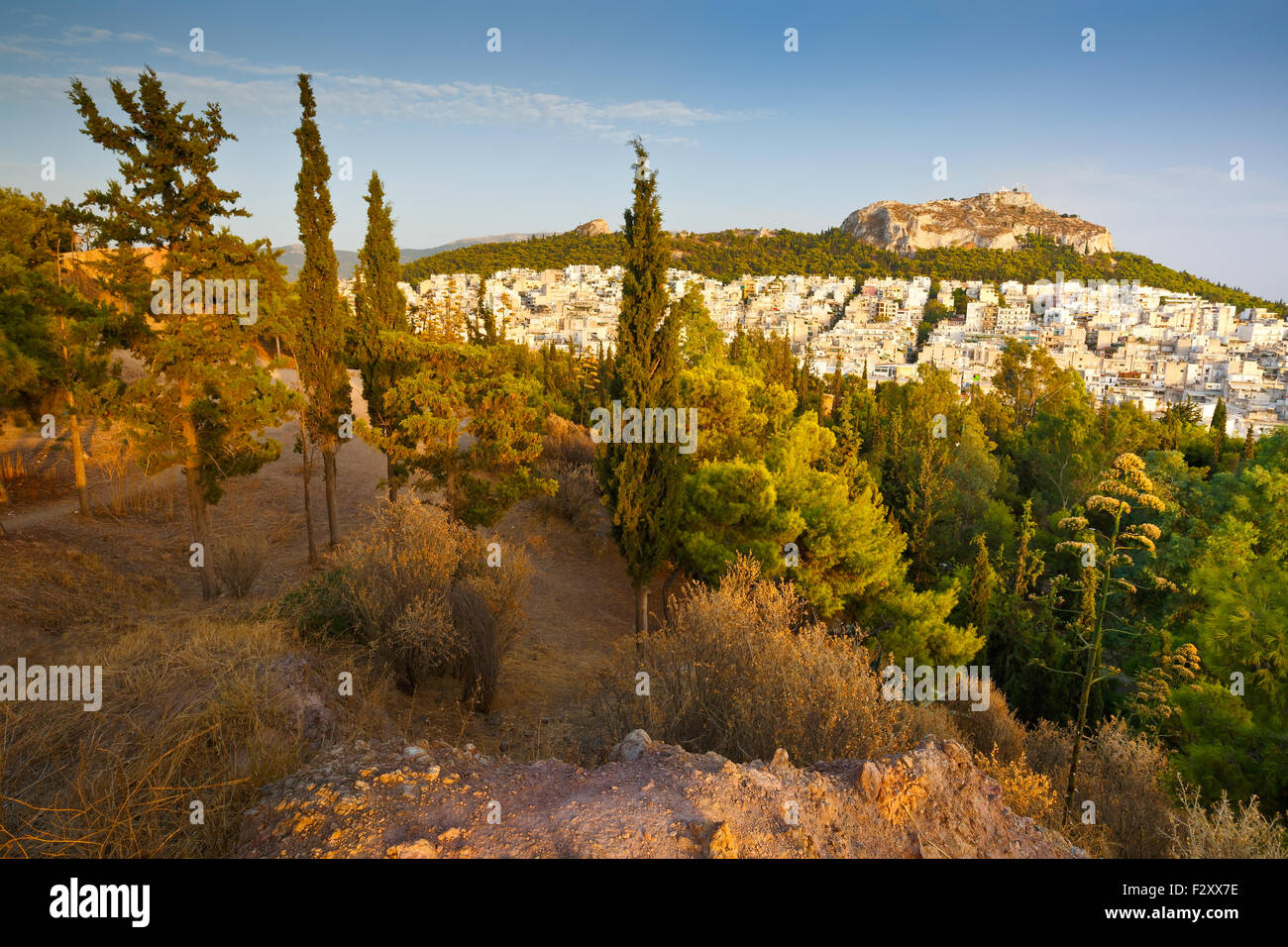 View of Athens and Lycabettus hill from Strefi Hill. - Stock Image